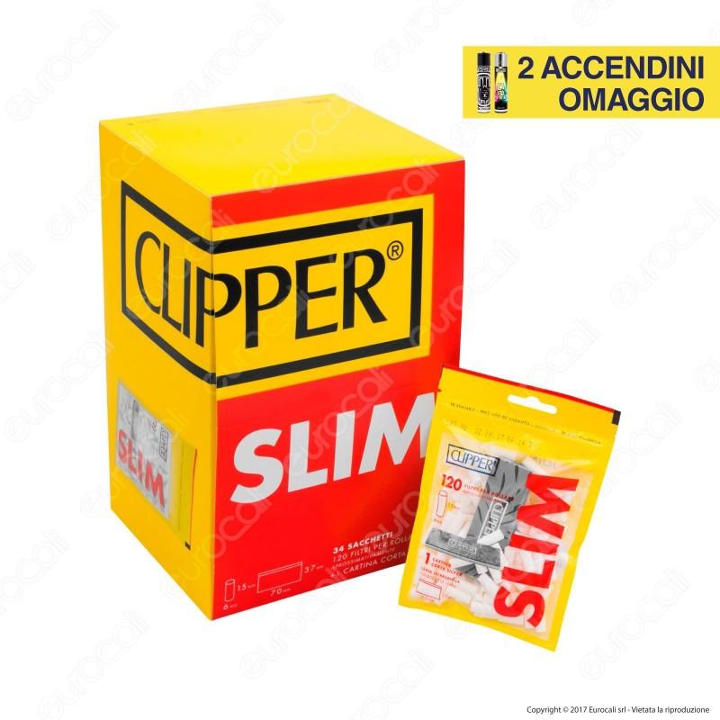 Clipper Slim 6mm Lisci - Box 34 Bustine da 120 Filtri + 50 Cartine Corte
