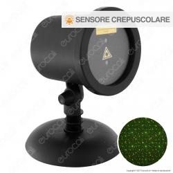 Proiettore Garden Laser Verde e Rosso Effetto Flashing con Sensore Crepuscolare - per Interno e Esterno