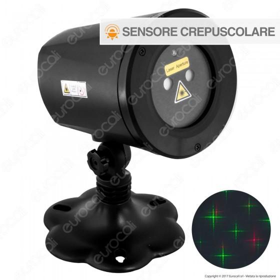 Proiettore Garden Laser Verde e Rosso Effetto Flashing con Sensore Crepuscolare e Timer - per Interno e Esterno
