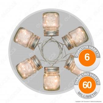 Catena 6 Vasetti in Vetro con LED Bianco Caldo - per Interno