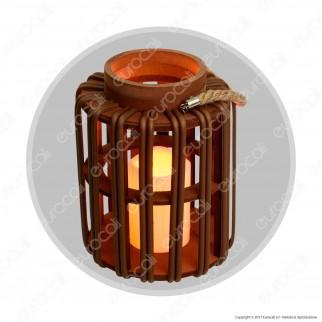 Lanterna Asian Style con Candela LED Luce Bianco Caldo