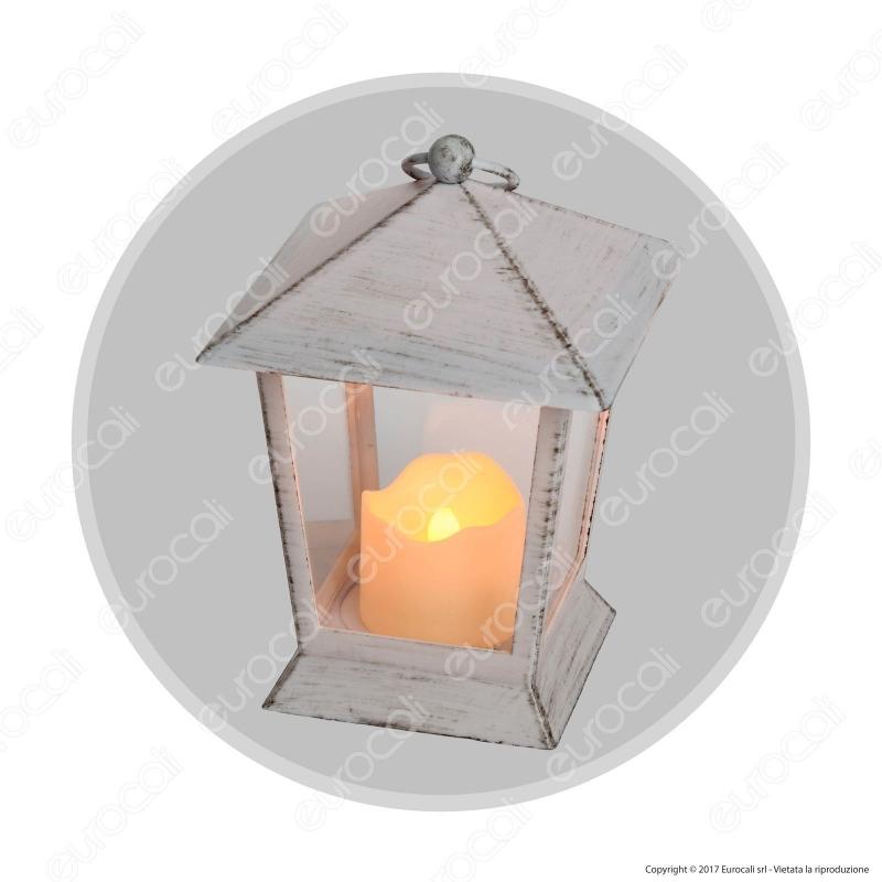 Lanterna Con Candela Led Old Style Luce Bianco Caldo