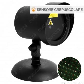 Proiettore Garden Laser Verde e Rosso con Sensore Crepuscolare - per Interno e Esterno