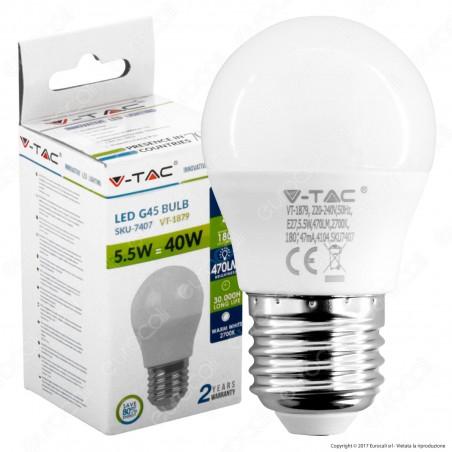 V-Tac VT-1879 Lampadina LED E27 5,5W MiniGlobo G45 - SKU 7407 / 7408 / 7409
