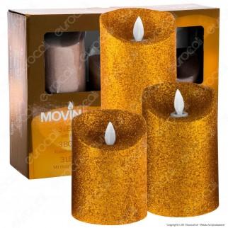MovinFlame 3 Candele LED in Vera Cera Glitter Oro con Telecomando - 7,5cm / 12,5cm / 18cm