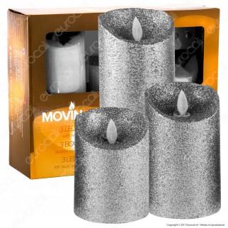 MovinFlame 3 Candele LED in Vera Cera Glitter Argento con Telecomando - 7,5cm / 12,5cm / 18cm