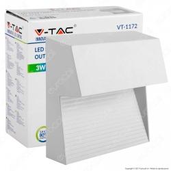 V-Tac VT-1172 Faretto Segnapasso LED a Montaggio Superficiale Quadrato 3W per Esterno Bianco - SKU 1402 / 1403