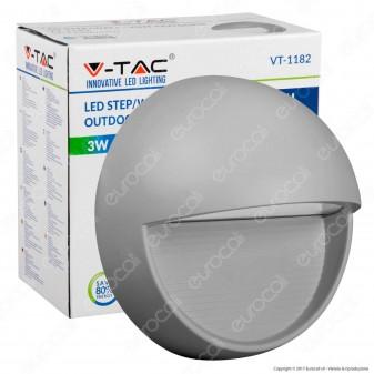 V-Tac VT-1182 Faretto Segnapasso LED a Montaggio Superficiale Rotondo 3W per Esterno Grigio - SKU 1406 / 1407