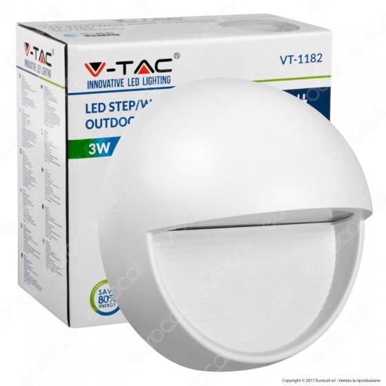 V-Tac VT-1182 Faretto Segnapasso LED a Montaggio Superficiale Rotondo 3W per Esterno Grigio - SKU 1408 / 1409