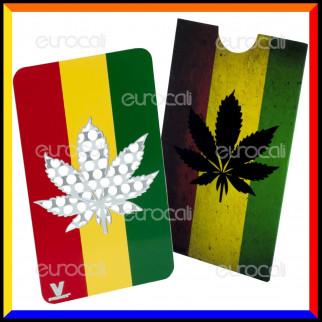 Grinder Card Formato Tessera Tritatabacco in Metallo - Rasta Leaf