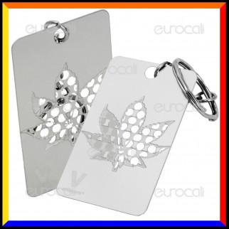 Grinder Card Mini con Portachiavi Tritatabacco in Metallo - Leaf Key Chain