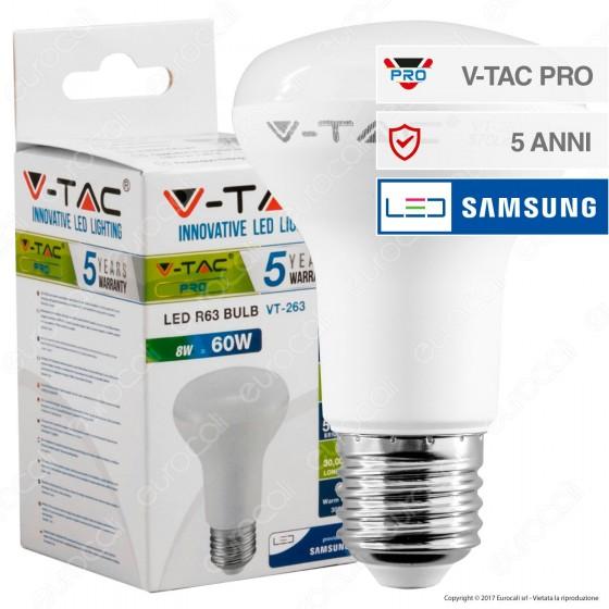 V-Tac PRO VT-263 Lampadina LED E27 8W Bulb Reflector Spot R63 Chip Samsung - SKU 141