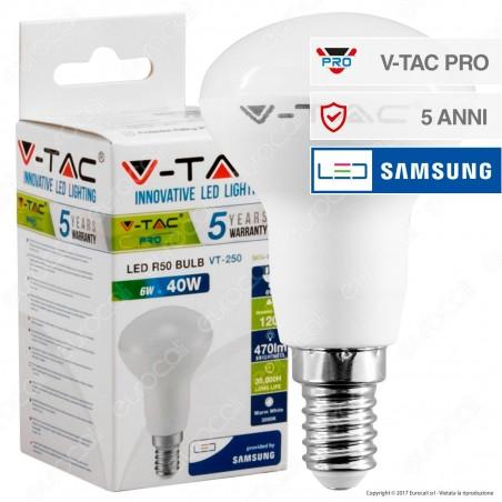 V-Tac PRO VT-250 Lampadina LED E14 6W Bulb Reflector R50 Chip Samsung - SKU 138 / 139 / 140