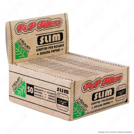 Cartine Pop Filters King Size Slim Organic Hemp - Scatola da 50 Libretti
