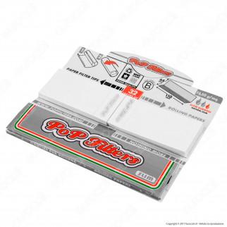 Cartine Pop Filters Combi-Pop King Size Slim Italia Silver Line Lunghe e Filtri in Carta - Libretto Singolo