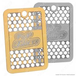 Pop Filters Grinder Collana con Mini Tessera Tritatabacco in Metallo