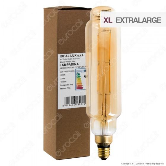Ideal Lux Lampadina LED Vintage XL E27 4W Lineare Filamento Ambrata