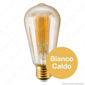 Ideal Lux Lampadina LED Vintage E27 4W Bulb ST64 Filamento Ambrata