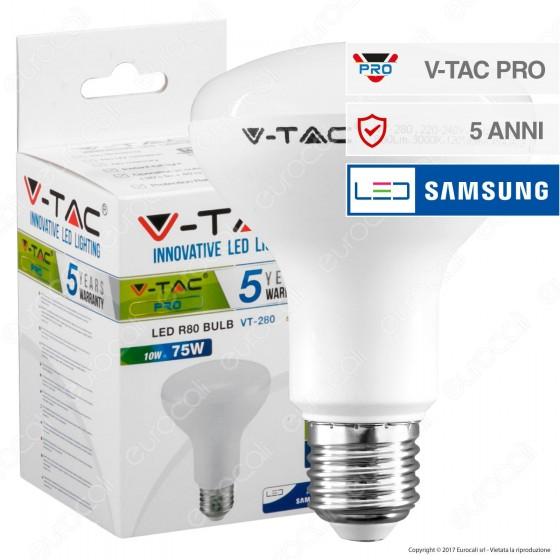 V-Tac PRO VT-280 Lampadina LED E27 10W Bulb Reflector R80 Chip Samsung - SKU 135