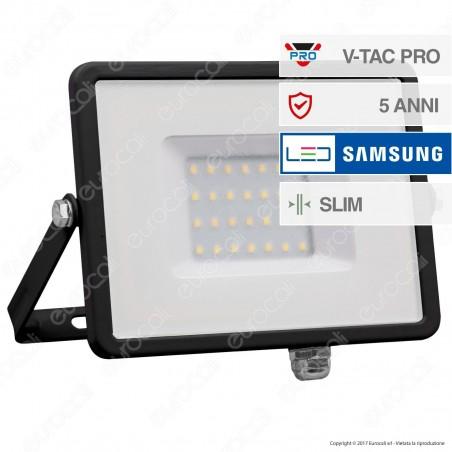 V-Tac PRO VT-30 Faro LED SMD 30W Ultrasottile Chip Samsung da Esterno Colore Nero - SKU 400 / 401 / 402