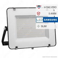 V-Tac PRO VT-200 Faro LED SMD 200W Ultrasottile Chip Samsung da Esterno Colore Nero - SKU 418 / 419