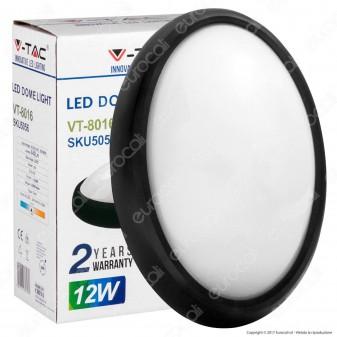 V-Tac VT-8016 Plafoniera LED 12W Forma Ovale Colore Nero - SKU 8628