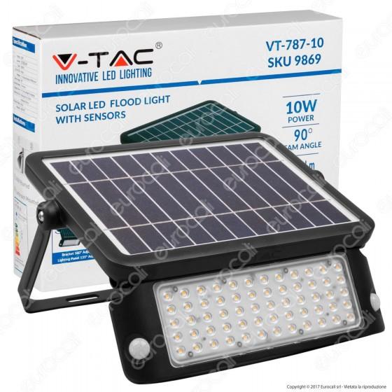 V-Tac VT-787-10 Lampada da Muro LED 10W con Pannello Solare e Sensore Colore Nero - SKU 9869