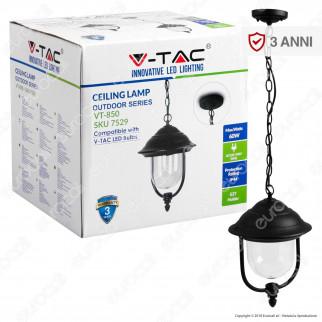 V-Tac VT-850 Portalampada da Giardino con Attacco a Soffitto per Lampadine E27 - SKU 7529