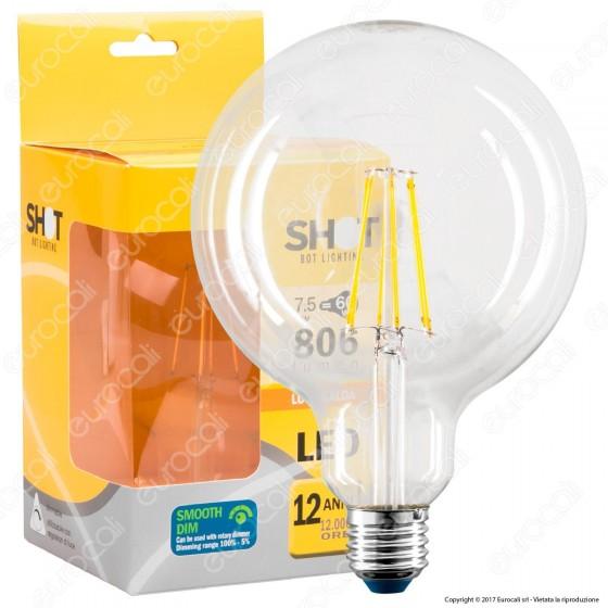 Bot Lighting Lampadina LED E27 7,5W Globo G125 Filamento Dimmerabile