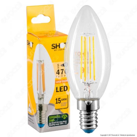 Bot Lighting Lampadina LED E14 5W Candela Filamento Dimmerabile