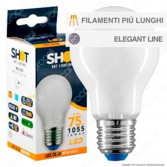 Bot Lighting Lampadina LED E27 8W Bulb A70 Milky Filamento Extra-Lungo
