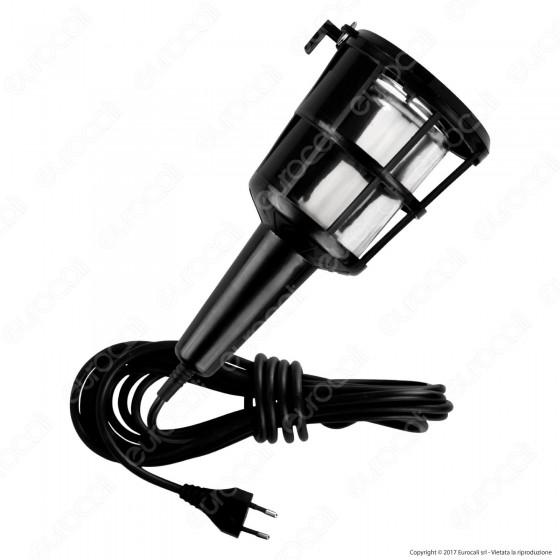 Velamp IS522 Balladeuse Lampada da Officina con Gabbia in Plastica per Lampadine E27