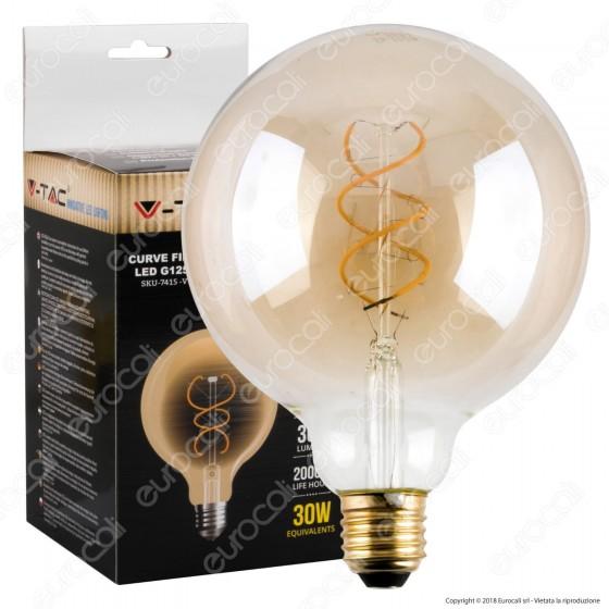 V-Tac VT-2085D Lampadina LED E27 5W Globo G125 Filamento Ambrata - SKU 7415