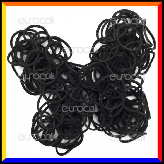 Loom Bands Elastici Colorati Nero - Bustina da 600 o 1000 pz