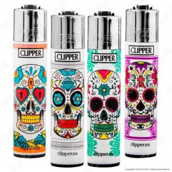 Clipper Large Fantasia Mexican Skulls - 4 Accendini