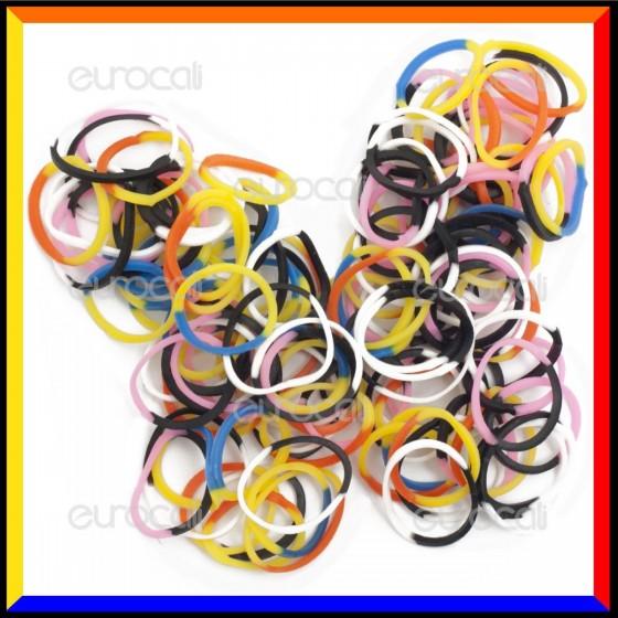 Loom Bands Elastici Colorati Bicolore - Bustina da 600 pz LB15