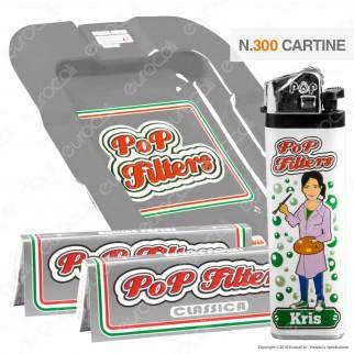 Kit Pop Filters 300 Cartine Corte Italia Silver Line + 1 Posacenere + 1 Accendino