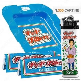 Kit Pop Filters 300 Cartine Corte Italia Blue Line + 1 Posacenere + 1 Accendino