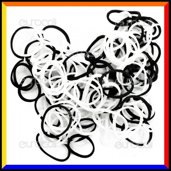 Loom Bands Elastici Colorati Bianco / Nero - Bustina da 600 pz LB17