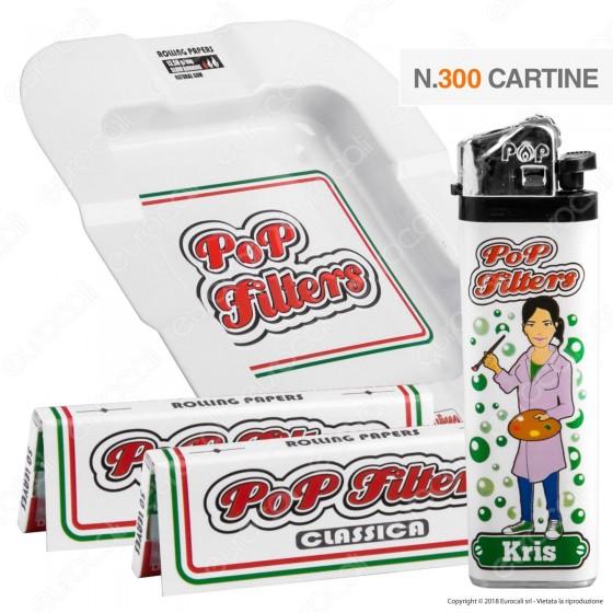 Kit Pop Filters 300 Cartine Corte Italia White Line + 1 Posacenere + 1 Accendino