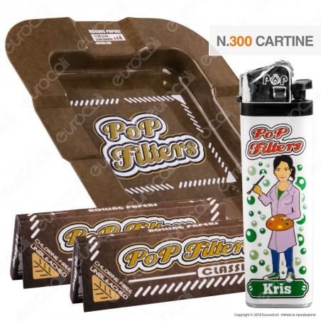 Kit Pop Filters 300 Cartine Corte Unbleached + 1 Posacenere + 1 Accendino