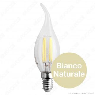 SkyLighting Lampadina LED E14 4W Candela Fiamma Filamento