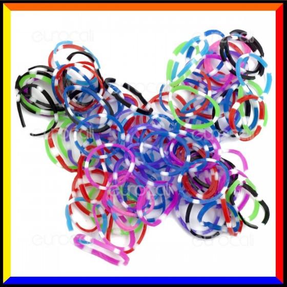 Loom Bands Elastici Colorati Plum Blossom - Bustina da 600 pz LB22