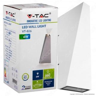 V-Tac VT-826 Lampada da Muro Wall Light LED 6W Colore Bianco IP65 - SKU 8295 / 8296