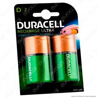 Duracell Ultra Torcia D 3000mAh Pile Ricaricabili - Blister 2 Batterie