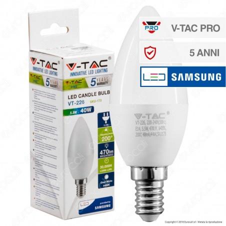 V-Tac PRO VT-226 Lampadina LED E14 5,5W Candela Chip Samsung - SKU 171 / 172 / 173