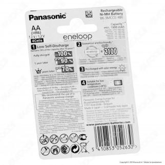 Panasonic Eneloop 1900mAh Pile Ricaricabili Stilo AA - Blister 4 Batterie