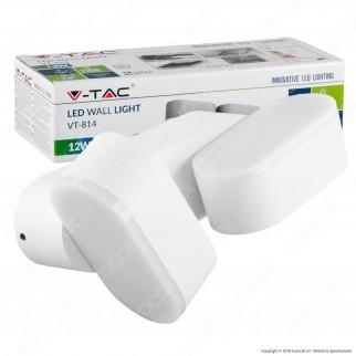 V-Tac VT-814 Lampada da Muro Wall Light LED 12W 2 Teste Ruotabili Colore Bianco IP65 - SKU 8292