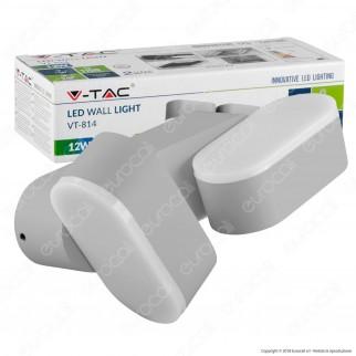V-Tac VT-814 Lampada da Muro Wall Light LED 12W 2 Teste Ruotabili Colore Grigio IP65 - SKU 8294