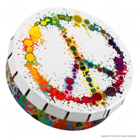 Scatolina in Metallo Portatutto con Apertura a Click - Fantasia Peace Colorful